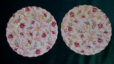 "8 Vntg Copeland Spode England Rosebud Chintz 6"" Ribbed China Bread&Butter Plates"