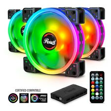 Rosewill (3-Pack) 120mm Addressable RGB Fans and 8-Port Hub Set, Dual Ring RGB