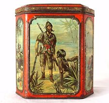 Antique Victorian 1892 Huntley & Palmers  Biscuits Tin - Robinson Crusoe - Rare!
