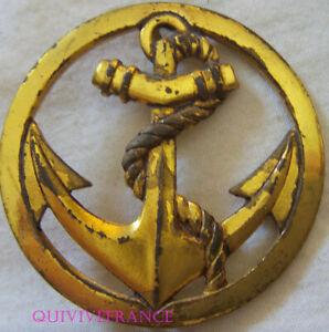 IN13554 - Insigne de béret, Coloniale, Troupes de Marine, doré DRAGO ROMAINVILLE