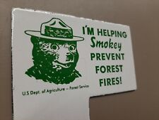 US Department Agriculture Smokey Bear Prevent Forest Fires Porcelain Sign Topper
