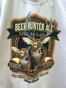 Puritan Men's M (38-40) Beer Hunter Ale Deer Sweatshirt Buckshot Double Twosday