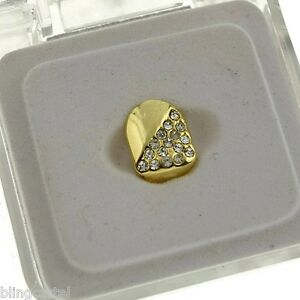14k Gold Plated Grillz Single Cap Hip Hop Teeth Half Stone Grill One 1 Tooth
