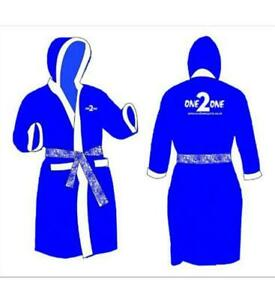 Boxing Gown Martial Art Satin Robe Blue & White Hooded Gown Youth, Adults