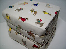 Cuddl Duds Heavyweight Cotton Dogs in Sweater Scarf Flannel Queen Sheet Set
