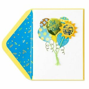 Papyrus Get Well Card - 3D mylar balloons with real string, Sunny Smiley Face