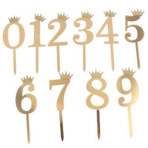 1pc Gold Crown Number 0123456789 Birthday Cake Topper Acrylic Golden Children.fr