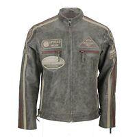 Mens Real Leather Desert Biker Jacket Vintage Urban Retro Look Size S - 6XL