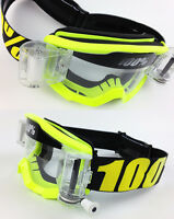 100% PERCENT STRATA MX MOTOCROSS GOGGLES FLOU YELLOW with GSVS ROLL-OFF SYSTEM