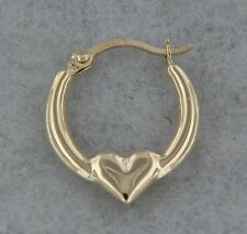 14k Yellow Gold Heart Hoop Earring Shiny. 0.5 inches. Hollow. Small. Micro Hoop
