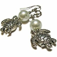 White Glass Pearl and Silver Plated Sea Turtle Earrings By SoniaMcD