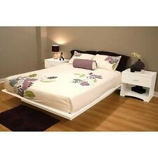 White 3 Piece Queen Platform Bed Set Home Living Bedroom Furniture Nightstands