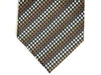 Alexander Julian Colours Mens Necktie Tie Brown Black White Checkered 59""