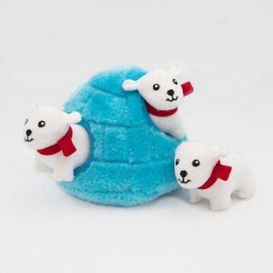 Zippy Paws Burrow Interactive Plush Dog Toy - Igloo with 3 Squeaky Polar Bears