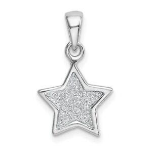 Sterling Silver 925 Glitter Enameled Star Charm Pendant 0.87 Inch