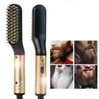 Men Quick Beard Straightener Golden Multifunctional Hair Comb Curling Curler USA