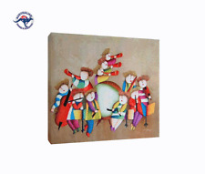KIDS ROOM DECOR, J. ROYBAL REPRO OIL PAINTING 'MUSIC' WITH FLAT NUT BROWN FRAME