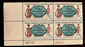 US Stamps, Scott #1316 General Fed of Women's Clubs 1966 5c Plate Blk VF/XF M/NH
