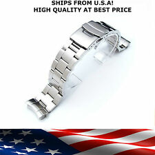20mm Curved End Brushed Stainless Steel Midsize Diver Oyster Bracelet For Seiko