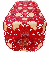 "54"" x 16"" Fashions Fancy Flowers Embroidered Cutwork Spring Table Runner RD/GD"