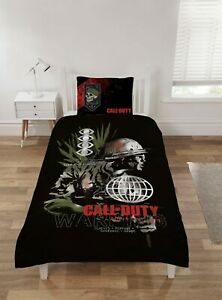 Call Of Duty WARNING  SINGLE Duvet Cover Bedding QUILT Set Gamers NEW