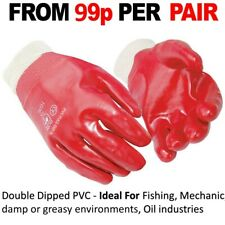 120 x Red PVC Coated Knitted Wrist Rubber Work Gloves Mens Builders Gardening