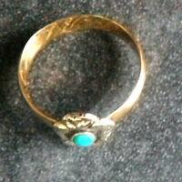 DAMENRING 14 Karat GOLD 585/f. TÜRKIS vor 1960 ~ 3,1 gramm RW ~ 54