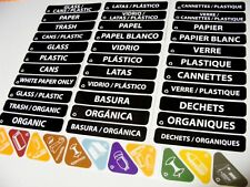 44 Rubbermaid RECYCLE BIN DECALS recycling in English,French,Spanish, label kit