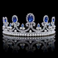 Blue Crystal Rhinestone Bridal Tiara Princess Pearls Crown Wedding Prom Headband