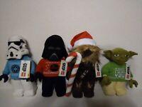 Lego Star Wars Christmas Plush Set 4 Yoda, Chewbacca, Stormtrooper, Darth Vader