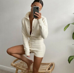 ZARA PLAYSUIT JUMPSUIT KNIT LIMITED EDITION HIGH NECK LONG SLEEVE BUTTON NWT
