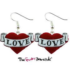 TFB - TATTOO LOVE HEART DANGLE EARRINGS Drop Funky Rock Chic Emo Kitsch Retro