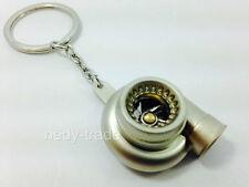 TURBO Charger Keychain Keyring - Chrome Metal, Spinning TURBINE NEW