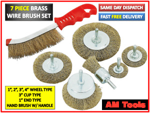 HEAVY DUTY 7PC DRILL WIRE WHEEL CUP FLAT BRUSH CLEANING SANDING SET BRASS PLATED