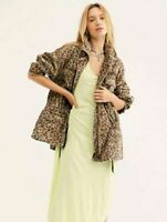 Women's NWT Free People Seize the day leopard print Utility Cargo jacket size L