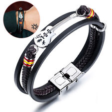Men Guitar Bracelet Leather Braided Rope Multi Layer Bangle Punk Jewelry Gift