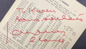 Vintage Autographed Jacques Plante St. Louis Blues Team-Issued Postcard d. 1986