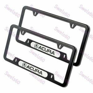 2PCS For ACURA Black WH Metal Stainless Steel License Plate Frame MDX RDX TSX TL
