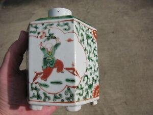 Antique Chinese porcelain tea caddy hand painted enamels Famille Verte hexagon