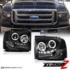 2005-2007 F250 F350 F450 Super Duty Halo LED Projector Headlights Black Lamp L+R