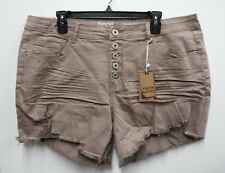 Hippie Laundry Womens Size 16 Mid Rise Midi Stretch Cut Off Jean Shorts New
