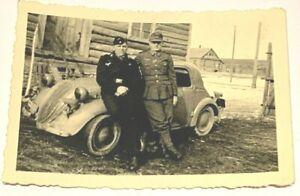 original Foto 2. Weltkrieg 2 Soldaten mit PKW ähnlich VW-Käfer Beatle WW2