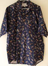Columbia Fishing Shirt Large Navy Blue Bird Pattern Short Sleeve Button Front