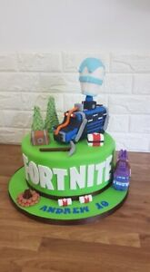 Fortnite Edible Cake Decorations Including Battle Bus, Llama, Chest, Campfire.
