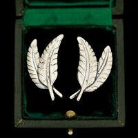 "Antique Vintage Art Deco Retro Sterling Silver Leaf DANECRAFT 1.21"" L Earrings"
