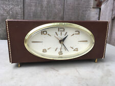 Ingraham Leather Alarm Clock Running Loud for Parts/ Repair