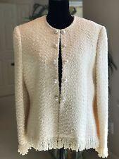 Gabriela de Fernandes Luxury Women's Ivory Wool Blazer Jacket Size 10