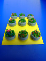 Vasi cemento fioriti rotondi  per plastico o diorama H0/N pezzi 9 - KREA