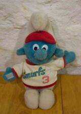 Vintage Smurfs BASEBALL PLAYER SMURF Stuffed Animal TOY