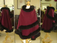 Wine Cashmere Cape With Black Fox Fur Trim Beautifully Canadian Label